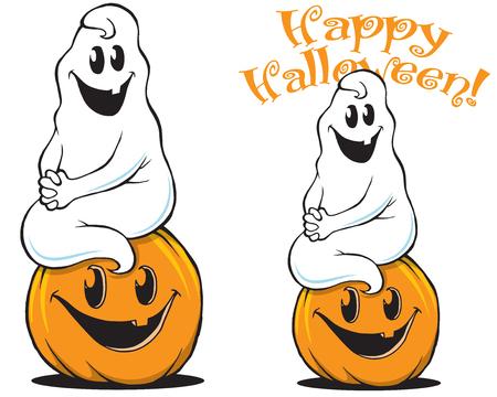 Ghost sitting on Pumpkin Cute Halloween art