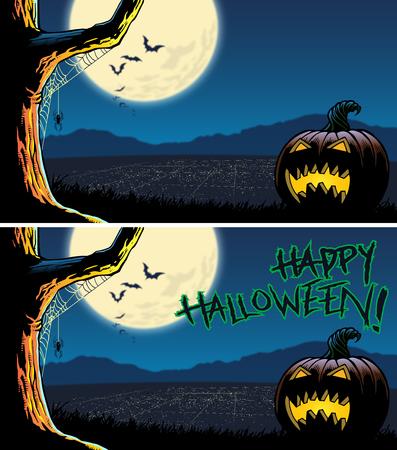 Halloween jack-o-lantern overlooking night city