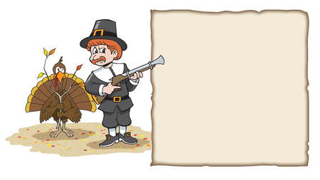 Turkey With Lampshade on Head eluding hunting pilgrim for thanksgiving Stockfoto
