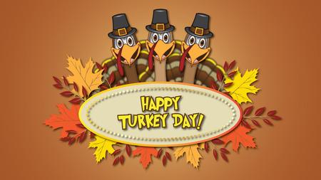 Feliz día de acción de gracias con tarjeta ovalada de tres Tom Turquía y hojas de otoño Foto de archivo