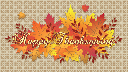 Happy Thanksgiving Leaveson pattern Tablecloth