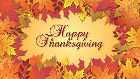 Happy Thanksgiving type with beautiful fall colored leaves Stock Photo