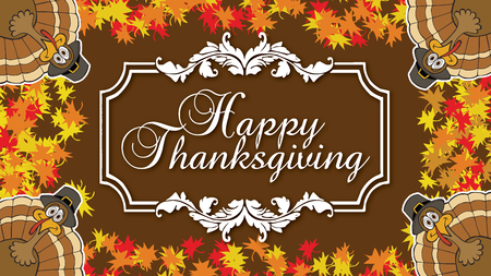 Happy Thanksgiving with Four Turkeys card and autumn leaves
