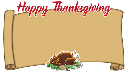 Another Thanksgiving Place Card with empty parchment for seating name Stock Photo