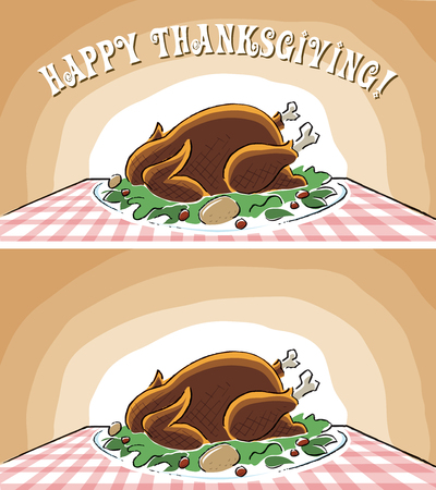 Happy Thanksgiving Turkey on Table with platter with type and without type