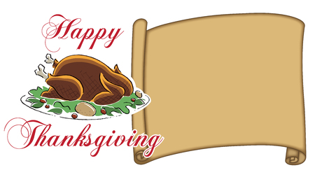 Thanksgiving blank Place Card parchment with Happy Thanksgiving type