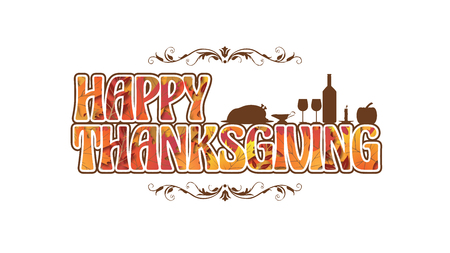 A very Decorative Thanksgiving Logo with Harvest items in silhouette