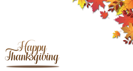 White Isolated Happy Thanksgiving type in corner with Fall Leaves Stock Photo