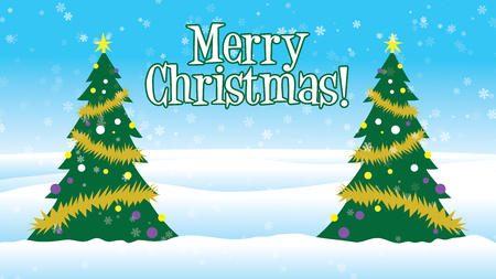Merry Christmas Christmas trees decorated outside in snow Stock Photo