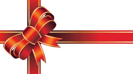 Merry Christmas Giant Red bow Ribbon on isolated White background