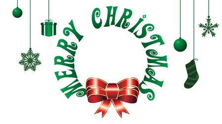 Merry Christmas Hanging Holida icons on white isolated background