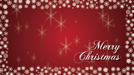 Merry Christmas Type with White snowflakes border and red background