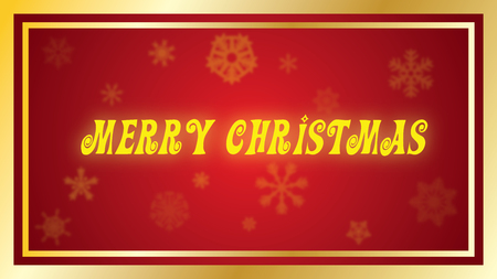 Merry Christmas Yellow Holiday Type on red background