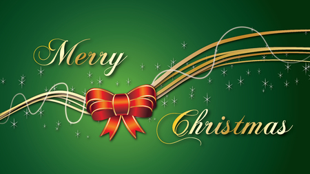 Merry Christmas Red Bow on Green Background