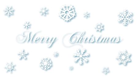 Merry Christmas White Snow Flakes on White Background
