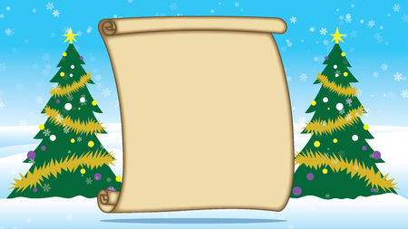 Merry Christmas Trees outside in Snow with blank parchment