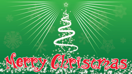 Merry Christmas Christmas trees decorate doutside Green background Stock Photo