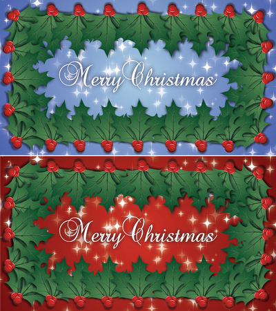 Merry Christmas Double Holly Border With Holly Berries Decoration