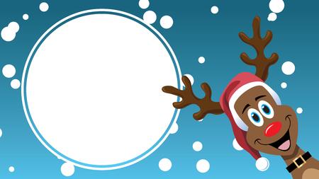Christmas Sale cartoon reindeer design advertising template sign Stock Photo