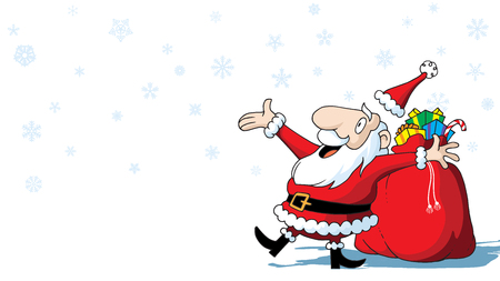 Merry Christmas Santa Claus with bag of toys on white background with snowflakes