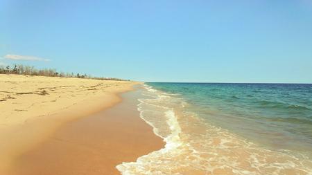 Soft wave of blue ocean on East Beach Rhode Island USA Stock Photo