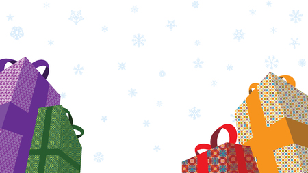 Christmas Presents and white snowflakes falling in white background retail advertising