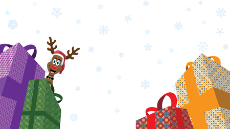 Christmas Presents and reindeer peeking while white snowflakes falling in white background retail advertising