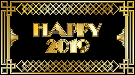 2019 New Years Countdown clock with black and gold background pattern Stock Photo