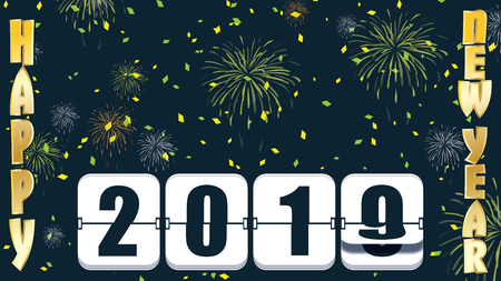 2019 New years Countdown clock changing numeral with festive background andtype Stock Photo