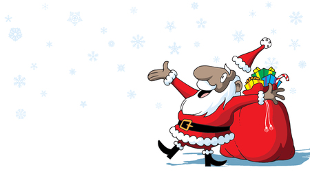 Merry Christmas African-American Santa Claus with toys on white background with snowflakes