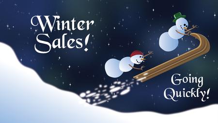 Winter Sale snowmen flying off snowbank on toboggan ad space Stock Photo
