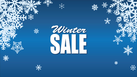 Winter sale background with blue realistic snowflakes banner and snow Illustration