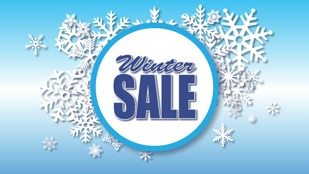 Winter sale background with circular sale type and snow snowflakes