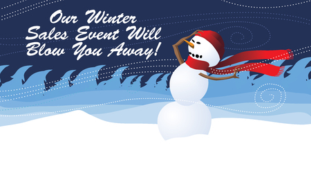Winter sales Event will blow you away Advertising Wind Blowing Banner