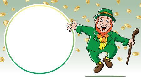 Saint Patricks Day leprechaun dancing among gold coins retail sale