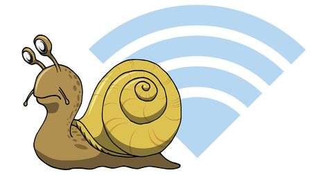 Really snail Slow internet web wifi connection for computers 写真素材 - 133372049