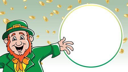 Saint Patricks Day leprechaun shouting message among gold coins retail sale