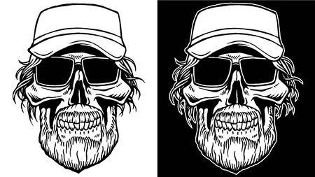 Black and White Line art of Skull with beard and sunglasses biker