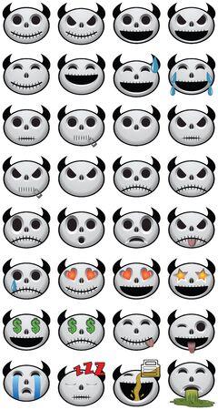 Thirty-two 32 Halloween Emojis social media icon faces of emotion skulls Stock Photo