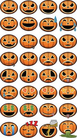 Thirty-two Halloween Emoji pumpkin jackolantern icons for social media