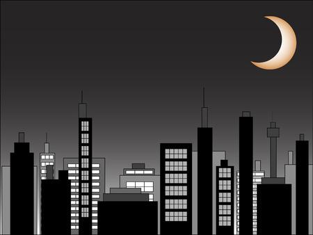 Vector cityscape scene at night Illustration