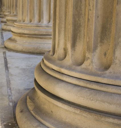 Row of neoclassical pillars at St Georges Hall, Liverpool, UK Built in 1854 Stock Photo