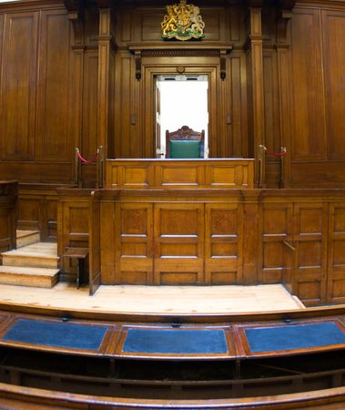 judicial: Very old courtroom (1854) with Judges chair at St Georges Hall, Liverpool,UK Stock Photo