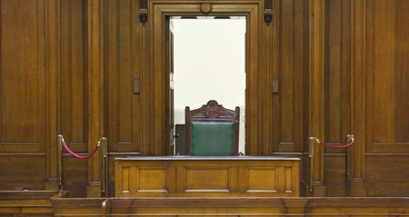 court room: Very old courtroom (1854) with Judges chair at St Georges Hall, Liverpool,UK Stock Photo