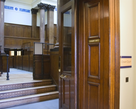 proceedings: Very old courtroom (1854) at St Georges Hall, Liverpool,UK