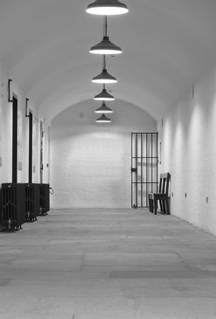 Very old (1854) prison cell block with gate leading up to Crown Court Stock Photo - 2736847