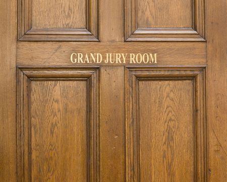 Old oak entrance door ot Grand Jury Room in Crown Court