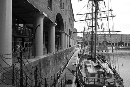 Old sailing ship at the Albert Dock, Liverpool photo