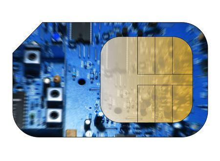 roaming: Cell phone sim card with circuit board overlay