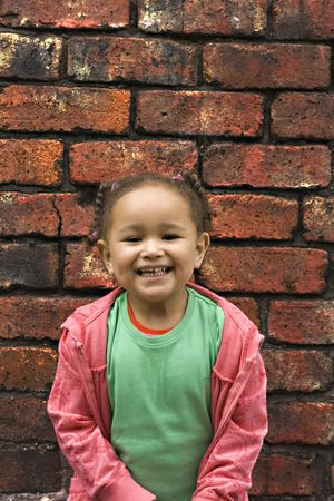 Young black  girl playing in an alley Stock Photo - 3017076